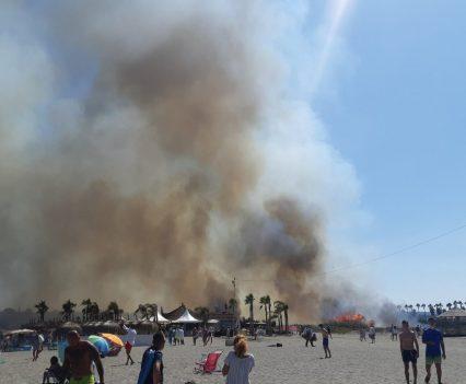 Fuego en la playa de Torreguadiaro